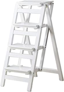 GUOCAO 4 Pasos de Escalera de Madera Silla del Taburete Plegable de múltiples Funciones del Estante Escalera Escalera Biblioteca Familiar 150 kg Blanco Capacidad Paso heces Moderno