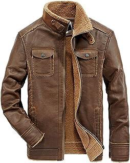 AIKOSHA メンズ レザージャケット シングル ライダースジャケット スタンド襟 スタンドカラー ファー襟風 PUレザー 皮ジャン