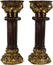 JHP Decorative Candle Holders Set of 2 - Retro Gold Pillar Candle Holders, Home Decor Pillar Candle Stand for Living Room,...