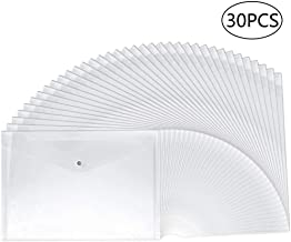 30pcs Plastic Envelopes, Clear Poly Envelope Waterproof File Folder with Snap Button, US Letter/A4 Size