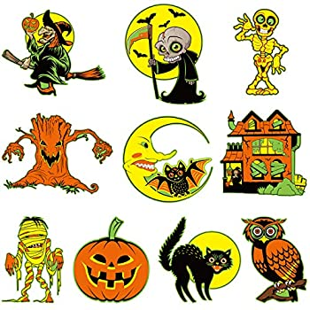 10 Pieces Halloween Cutouts Retro Halloween Vintage Decorations Double Side Printed Halloween Decorations with 40 Pieces Adhesive Glue Point Dots for Old Fashioned Old Style Halloween Decoration