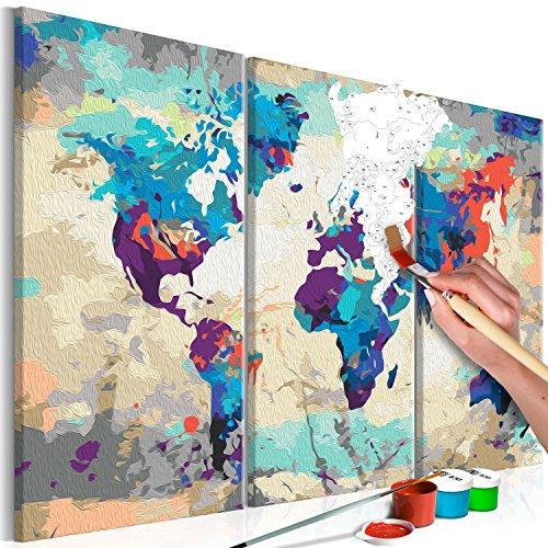 murando Pintura por Números Cuadros de Colorear por Números Kit para Pintar en Lienzo con Marco DIY Bricolaje Adultos Niños Decoracion de Pared Regalos - Mapamundi 60x40 cm 3 Partes DIY n-A-0231-d-e