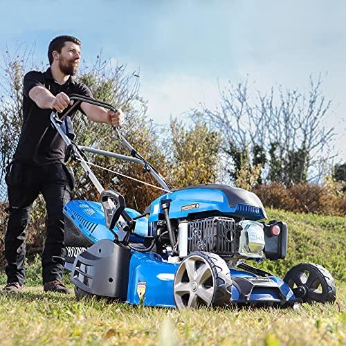 Hyundai HYM430SPER Self Propelled 17' 43cm 430mm 139cc Electric Start Petrol Roller Lawn Mower-Includes 600ml Engine Oil, Blue