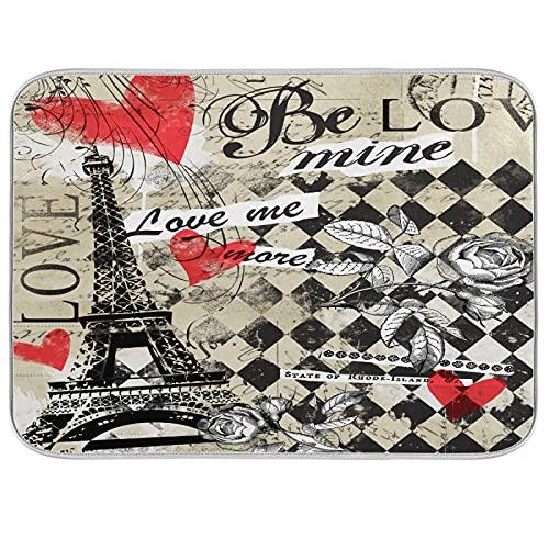 HMZXZ Esterilla de secado de platos de microfibra para mostrador de cocina, 45,7 x 60,9 cm, diseño vintage de Torre Eiffel París Corazón Absorbente Platos Pad Escurridor de platos