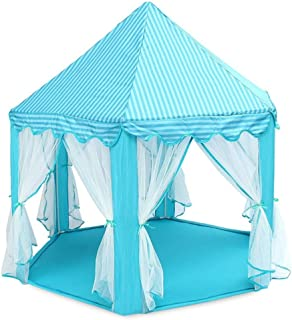 AOKNES Tulle Play Tent Princess Castle Children Game House (Blue)