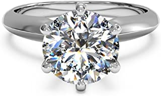espere 3 Ct CZ Solitaire Engagement Ring Sterling Silver White Gold Plated Size 4-9 Anniversary Rings