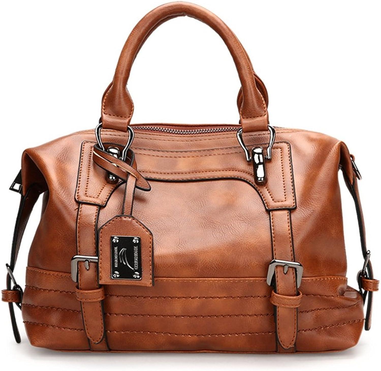Sophiazhong Große Kapazität PU Eimer Tasche Messenger Bag, Hanbag, braun B07CZW3SFJ