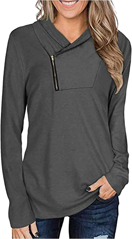 XTBFOOJ Women's Long Sleeve Pullover Zipper Cowl Neck Tops Trendy Solid Tie Dye Printed Sporty Sweatshirts Jumpers Blouses
