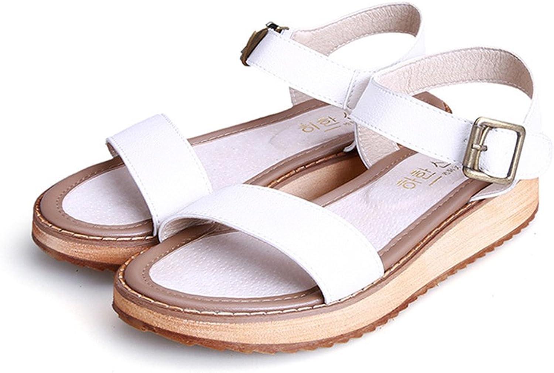 Reiny Women's Fashion Leather Flat Summer Anti-Skid Sandals