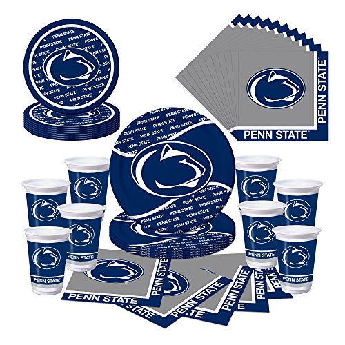 Creative Converting Penn State Nittany Lions Party Bundle-Plates, Cups, Napkins-Serves 8,Blue, Silver