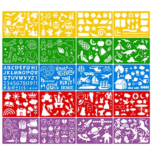 JOYAHO 20 Pieces Drawing Stencils Set for Kids, 300+ Patterns Plastic Painting Stencil Kit Drawing Templates for Girls Boys Craft Gifts