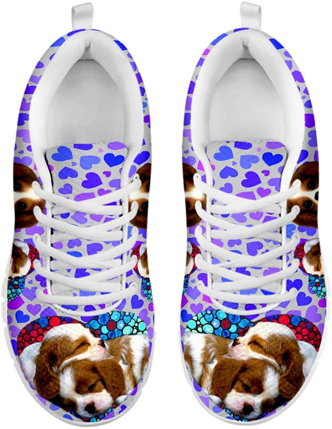 Women's Sneakers- Cute Cavalier King Charles Spaniel On Hearts Print Casual Running shoes