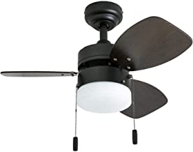 """Honeywell Ceiling Fans 50602-01 Ocean Breeze Contemporary, 30"""" LED Frosted Light, Light Oak/Satin Nickel Finish Blades, Gilded Espresso"""