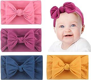 Yuccer 4 Pieza Diademas Bebe Lazo Grande Hairband Bebé Turbante Diademas Pelo Niña para Niños Recién Nacidos Accesorios Fo...