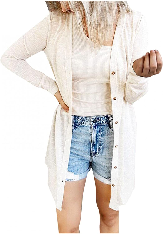 Cardigan for Women Lightweight, Women's Long Sleeve Knit Sweater Open Front Cardigan Button Loose Outerwear