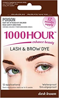 1000 Hour Eyelash & Brow Dye/Tint Kit Permanent Mascara (Dark Brown)