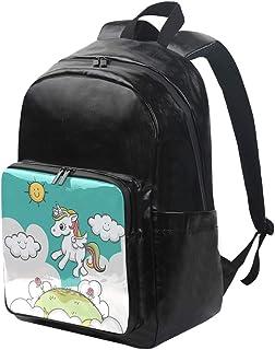 DEZIRO mochila de lona con diseño de unicornio y luz solar, mochila de viaje, mochila plegable con correas ajustables para el hombro al aire libre