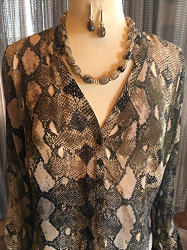 Custom Couture Large Kahki and blue animal print tunic with taupe quartz necklace and earrings