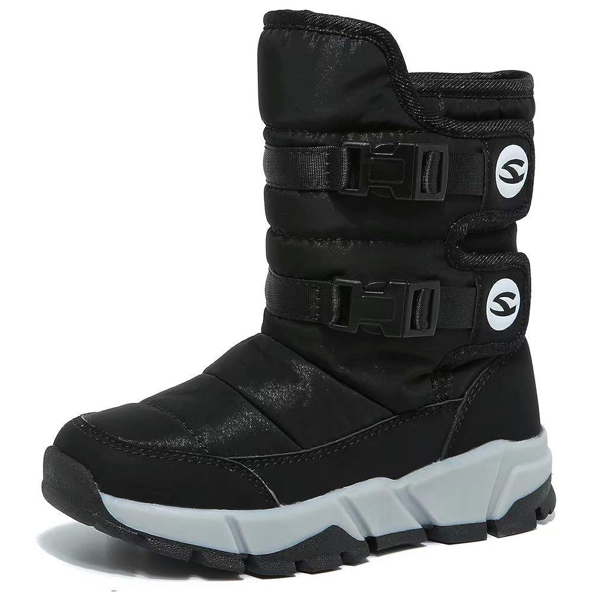 後退する毎日定規[ホビベアー] スノーブーツ キッズ ジュニア ウインターブーツ スノーシューズ 防寒靴 雪靴 冬用