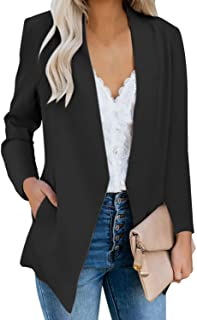 Women's Open Front Business Casual Pocket Work Office...