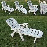 Amaze Folding Swimming Pool Farm House Garden Sun Bed Beach Lounger Beach Bed Beach Lounger Chair - Plastic - White