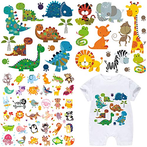 Kids Iron on Transfers Patches Set 3 Sheets Assorted Cute Dinosaur Animal Iron on Appliques Patches DIY Heat Transfer Stickers for T-Shirt Clothing Jeans Backpacks