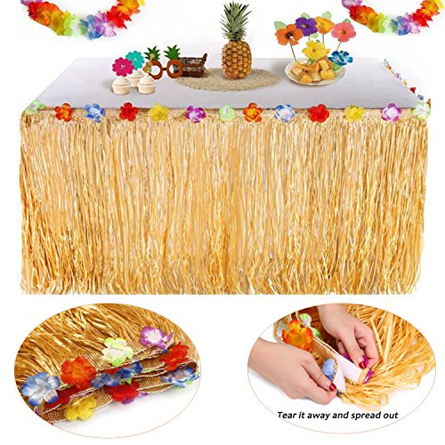 YQing Hawaiian Luau Table Skirt - 9.6ft Hawaiian Luau Hibiscus Grass Table Skirt with 26 Faux Silk Flowers for BBQ Tropical Garden Beach Summer Tiki Party Decorations (TableSkirt(Gold))