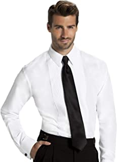 Men's Fitted 1/4 Inch Pleated Tuxedo Shirt, Laydown Collar - Style Jake