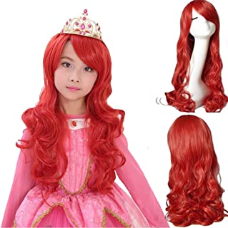 """Ani·Lnc 24"""" Long Wavy Red Synthetic Cosplay Hair Wig For Children"""
