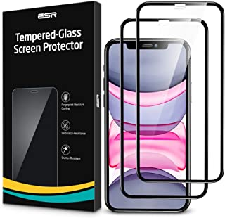 """ESR iPhone 11 Protector de Pantalla Cristal Vidrio Templado Cobertura Total para iPhone 11/iPhone XR, Bordes curvados 3D, con Marco de instalación fácil para iPhone 6.1"""", 2 Unidades."""