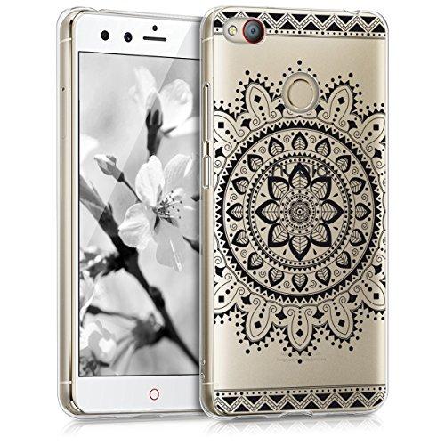 kwmobile ZTE Nubia Z11 Mini s Hülle - Handyhülle für ZTE Nubia Z11 Mini s - Handy Case in Aztec Blume Design Schwarz Transparent