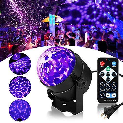 RECHING LED UV Black Light,UV Disco Ball Party Lights DJ Lights Sound Activated Strobe Light Stage Lighting for House Party Nightclub Karaoke Dance Wedding Ballroom Halloween Event(Black Light - UV)