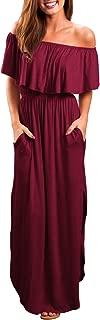Womens Off The Shoulder Ruffles Pockets Dress Side Split Maxi Dresses