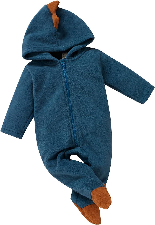 Mubineo security Newborn Baby Boy Girl Dinosaur Max 80% OFF Hood Zip Footie Fo Fleece