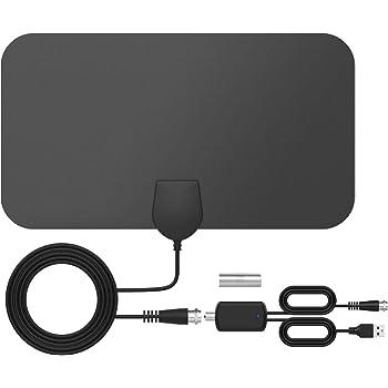 Antenne TV Intérieur Puissante TICTID, Max 120 Miles, Antenne TNT avec Amplificateur de Signal Booster, 3,7 Mètres Câble Coaxial, Soutien Smart TV 4K 1080P HD/HD/VHF/UHF/FM
