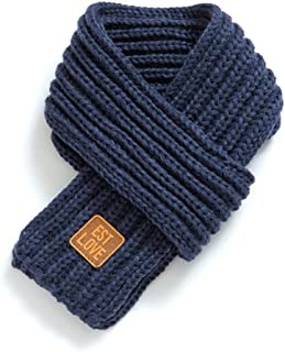 YASSUN Thick Knit Winter Warm Solid Color Children's Scarf, Knitted Warm Children's Fashion Scarf (Blue)