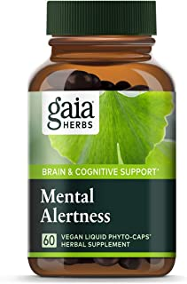 Gaia Herbs Mental Alertness Vegan Liquid Capsules, 60 Count - Memory and Focus Supplement, Enhance Mental Performance, Boo...