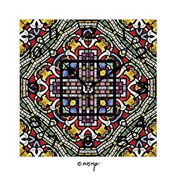 FashSam 8 Inch Square Face Silent Wall Clock Colourful Seamless Stained Glass Window Panel Unique Contemporary Home and Office Decor No-43205