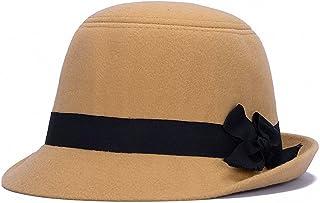 iSpchen Femme Chapeau Melon Cloche Bonnet Feutre Hiver Style Vintage Chapeau Casquette Rond Chaud Taille Unique Vin Rouge