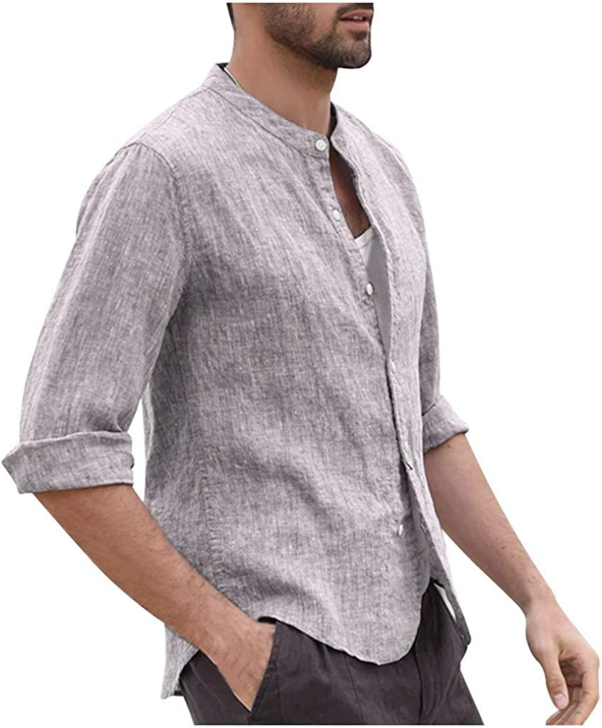 Fastbot Mens Shirts Long Sleeve Linen Three Quarter Soli Max 76% OFF Popular brand in the world Vintage