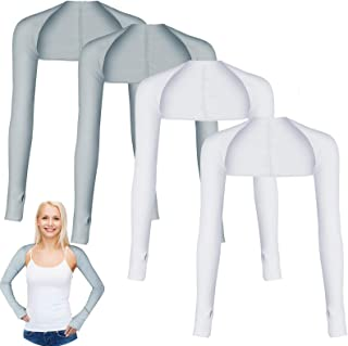 Blulu 4 Pairs Cooling Shawl Arm Sleeves Sun Protection with Finger Hole for Golfing, Driving, Riding, Fishing