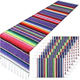 9 Pieces Mexican Table Runner with Place Mats Serape Table Runner Cinco de Mayo Place Mats for Cinco de Mayo Mexican Fiesta Party Wedding Decoration, Purple