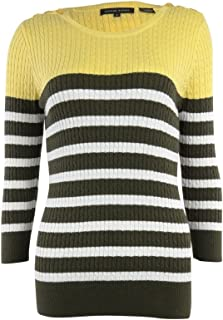 Women's Round Neck Striped Knit Sweater