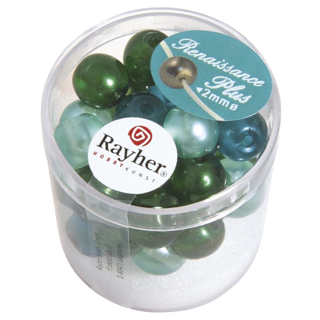 RAYHER 14475000?(Semi-Transparent Renaissance Glass Wax Beads with Large Hole 10?mm, Dose 32?Stück, grün Mix
