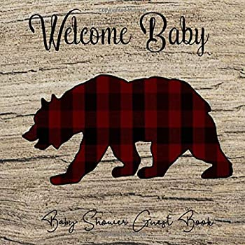 Baby Shower Guest Book  Lumberjack Buffalo Plaid Bear Wooden Forest Theme Welcome Baby  Unisex  Sign in Guestbook with predictions advice for .. & photo Memory Keepsake  Pregnancy Gifts