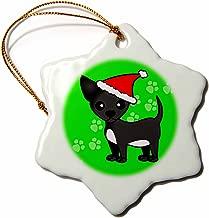 3dRose orn_12082_1 Cute Black Chihuahua Green with Santa Hat Porcelain Snowflake Ornament, 3-Inch