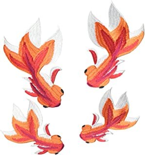 4 Pcs Goldfish Delicate Embroidered Patches, Cute Embroidery Patches, Iron On Patches, Sew On Applique Patch,Cool Patches for Men, Women, Kids