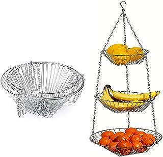 2 pièces Panier suspendu Organisateur de fruits, Organisateur de cuisine intense de 3 niveaux amovible suspendu panier de ...
