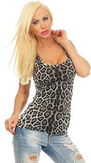 Fashion4Young 4328 Women's Tank Top Leopard Top Sleeveless Shirt Basic Top Women's Top Bodycon
