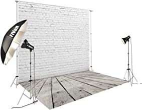 8'x12' White Brick Wall with Gray Wooden Floor Photography Backdrop Vinyl Background for Pictures D-2504